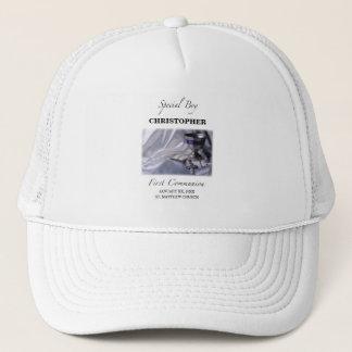 Personalize, Boy, First Communion Blue Trucker Hat