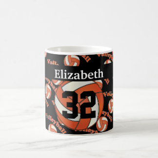 Personalize Bright Orange Volleyball Coffee Mug