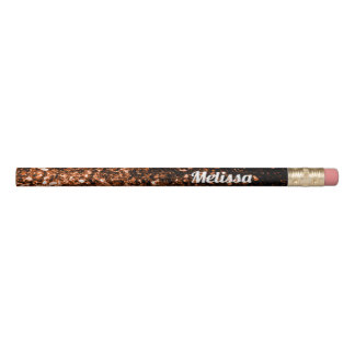 Personalize Bronze Orange Brown glitters sparkles Pencil