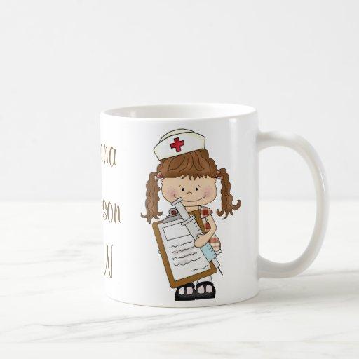 Personalize Brunette Nurse Gifts! Coffee Mugs