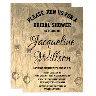 Personalize Chic Bronze Art Bridal Shower Card