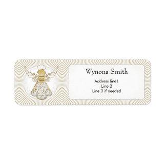 Personalize: Christmas Angel of Grace Filigree Return Address Label