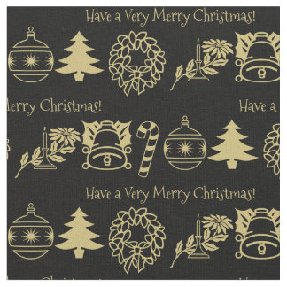 Personalize: Christmas Gold/Black Font Art Fabric
