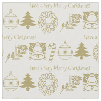 Personalize: Christmas Gold/White Font Art Fabric