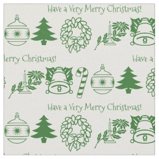 Personalize: Christmas Green/White Font Art Fabric