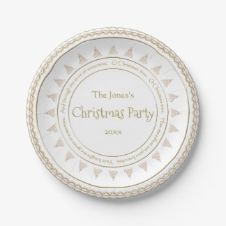 "Personalize: ""Christmas Party"" Gold Filigree Tree 7 Inch Paper Plate"