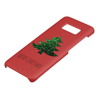 Personalize Christmas tree green sparkles on Red Case-Mate Samsung Galaxy S8 Case