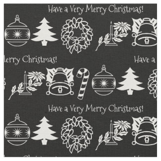 Personalize: Christmas White/Black Font Art Fabric