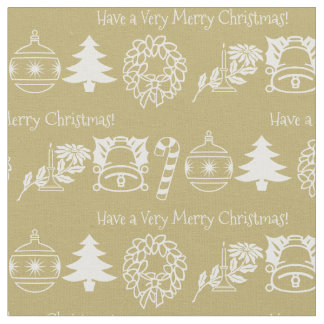 Personalize: Christmas White/Gold Font Art Fabric
