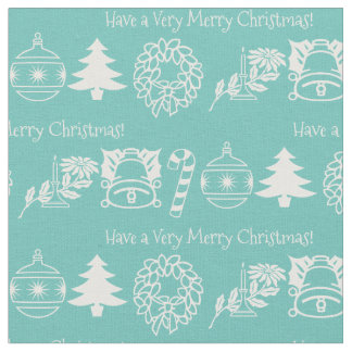 Personalize: Christmas White/Teal Font Art Fabric