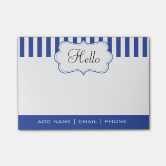 Personalize Classy Electric Blue Stripes Post-it® Notes