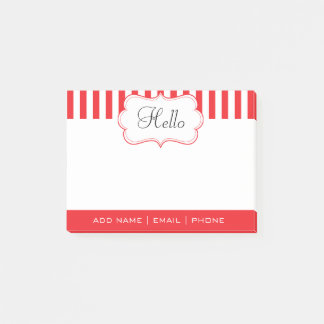 Personalize Classy Poppy Red Stripes Post-it Notes