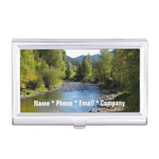 (Personalize) Colorado Stream photo - Estes Park Business Card Holder