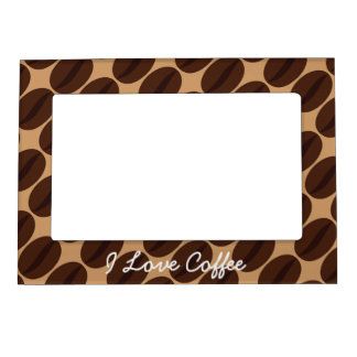 Personalize Cool Brown Coffee beans pattern Magnetic Picture Frame