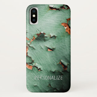 Personalize Cool turquoise brown rusty metal iPhone X Case