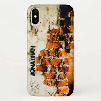 Personalize Cool White orange Broken brick wall iPhone X Case