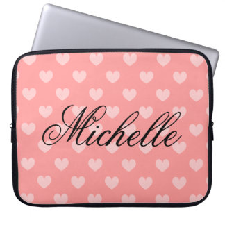 Personalize coral pink heart pattern laptop sleeve