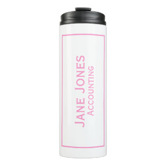 Personalize: Corporate Minimal Pink and White Thermal Tumbler