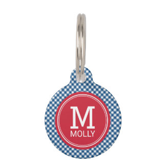 Personalize Country Blue Gingham Monogram Pet Name Tags