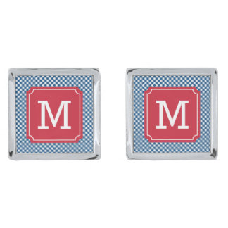 Personalize Country Chic Blue Gingham Monogram Silver Finish Cuff Links