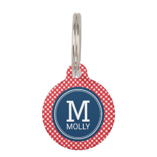 Personalize Country Picnic Red Gingham Monogram Pet Name Tag