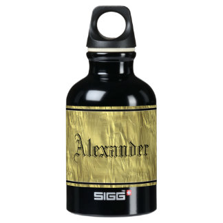 Personalize: Crumpled Gold Faux Foil Paper Texture Water Bottle