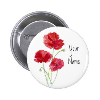 Personalize - Custom -Red Poppies - Watercolor 6 Cm Round Badge