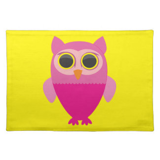 Personalize Cute Pink Owl Character Placemat