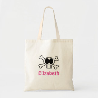 Personalize Cute Skull and Crossbones Budget Tote Bag