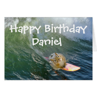 Personalize Cute Surfing Chipmunk Card