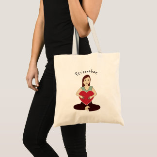 Personalize Cute Yoga Girl holding Red heart Tote Bag