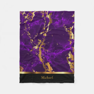 Personalize Deep Purple and Gold Marble Fleece Blanket
