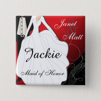 Personalize Deep Red Wedding Party 15 Cm Square Badge