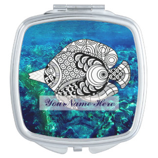 Personalize Doodle Angelfish Compact Mirror