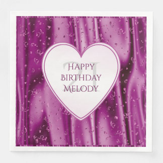 Personalize - Faux Orchid Satin Birthday Heart Disposable Napkin