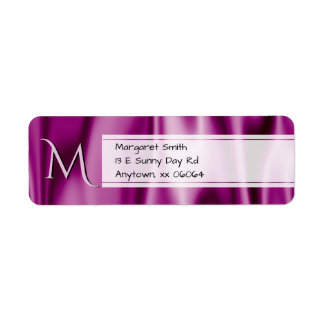 Personalize:  Faux Orchid Satin Fabric Texture Return Address Label