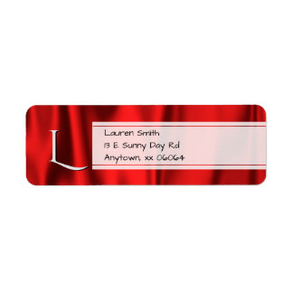 Personalize:  Faux Red Satin Fabric Texture Return Address Label