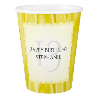 Personalize Faux Yellow Satin Birthday Scallops Paper Cup