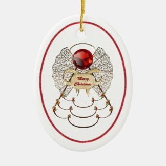 Personalize:  Filigree Merry Christmas Angel Oval Ceramic Oval Decoration