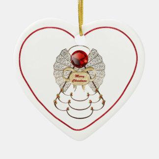 Personalize:  Filigree Merry Christmas Angel Star Ceramic Heart Decoration