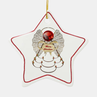 Personalize:  Filigree Merry Christmas Angel Star Ceramic Star Decoration