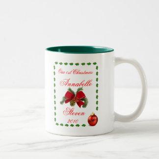 Personalize First Christmas Wedding Anniversary Coffee Mugs