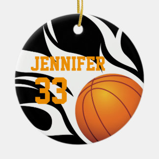 Personalize Flaming Basketball B/W Ceramic Ornament