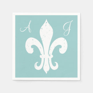 Personalize fleur de lis paper napkins for wedding
