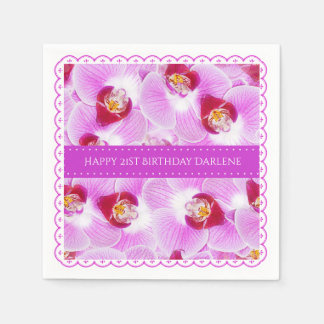 Personalize:  Floral Photography Purple Orchid Disposable Napkin