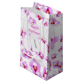 Personalize:  Floral Photography Purple Orchid Small Gift Bag