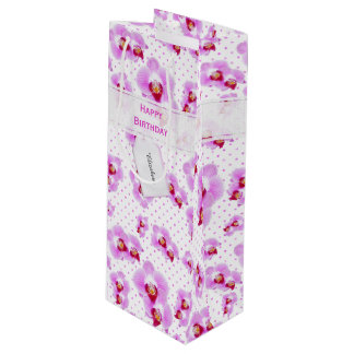 Personalize:  Floral Photography Purple Orchid Wine Gift Bag