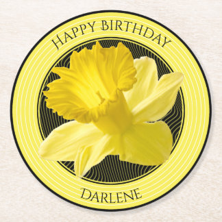 Personalize:  Floral Photography Yellow Daffodil Round Paper Coaster