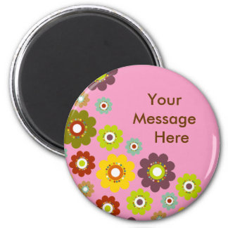 Personalize Flower Power Magnet Pink