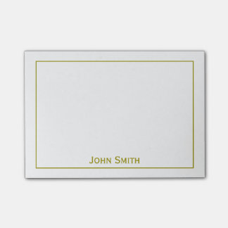Personalize: Framed Modern Minimal Gold & White Post-it Notes
